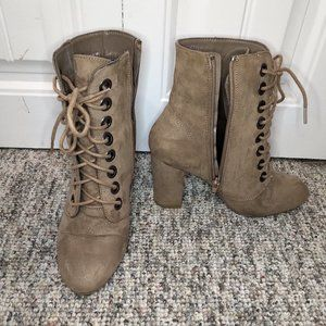 Sharona heeled bootie taupe zipper lacces